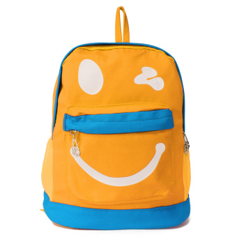 Kids Backpack Childrens Bag Cartoon Lovely Character Smile Face Canvas Children School Bags Kindergarten Multicolor Cute Yellow