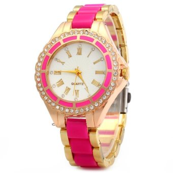 Harga Women Marble Mirror Quartz Watch Roman Calibration Set Auger Leisure Style(Export)