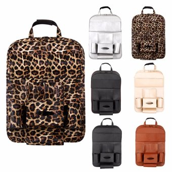 Leather Car Back Seat Organizer Pockets Folding Car Backseat Hanging Holder Storage Bags Tissue Bag Auto - intl - 4