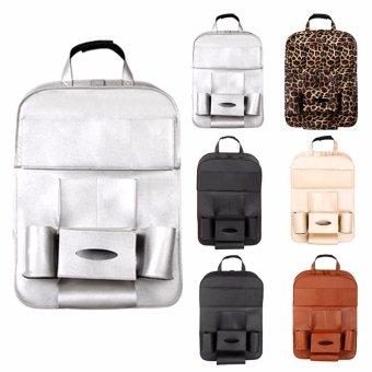 Leather Car Back Seat Organizer Pockets Folding Car Backseat Hanging Holder Storage Bags Tissue Bag Auto - intl - 3