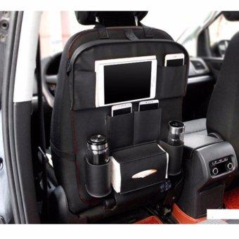 Leather Car Back Seat Organizer Pockets Folding Car Backseat Hanging Holder Storage Bags Tissue Bag Auto - intl - 2