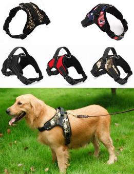 Harga Big Dog Soft Harness Adjustable Pet Dog Big Exit Harness Vest Collar Strap for Small and Large Dogs Pitbulls - Red(L) - intl