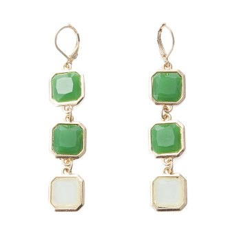 Harga TimeZone Pair of Fresh Style Colored Faux Gemstone Embellished Earrings For Women