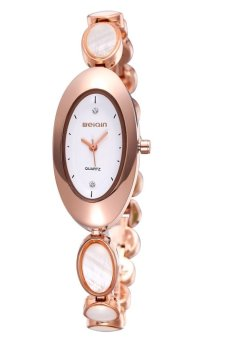 Weiqin Personalized Oval Dial Opal decorative strap women gold color alloy band quartz analog wrist watch(Export)