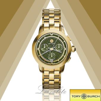 Harga Tory Burch Watch, Gold-Tone/Olive Chronograph, 37 mm TRB1023