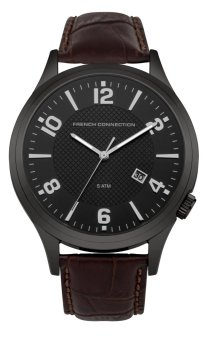 Harga French Connection Cromwell - Brown Leather Strap with Black IP Case