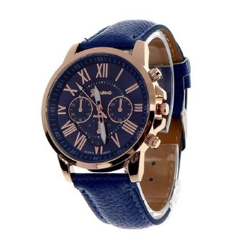 Harga men male simple leather belt casual fashion pointer watches three six-pin quartz watches quartz wristwatch Royal blue