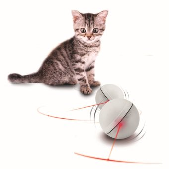 Harga Interactive Electronic LED Light Flash Rolling Ball Pet Cat Toys(White)