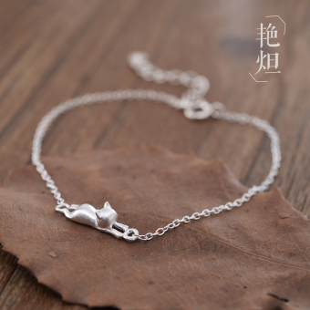 Japan and South Korea 925 sterling silver female cat bracelet