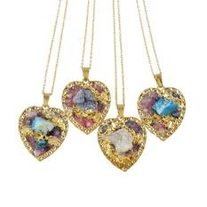 Kayshine Randomly Minimalist Necklace Gold-Color Chain Geometric Heart Shape Color Stone Pendant Necklaces For