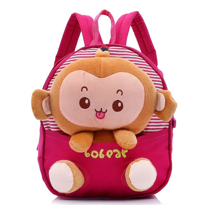 Kids Boys Girls Cartoon Monkey Shape Canvas School Bag Red