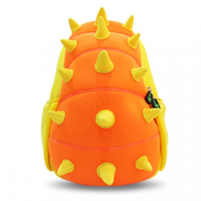 KinderBrands Nohoo Ergonomic 3D Zoo Animal Dinosaur Spikes Kids' Neoprene Backpack School Bag – Yellow & Orange