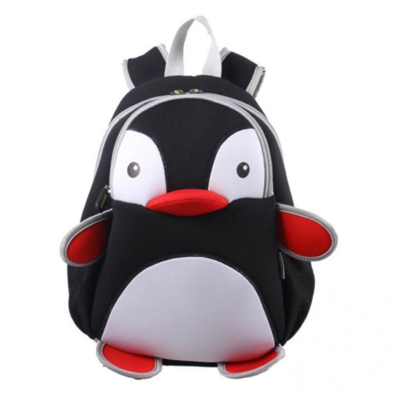 KinderBrands Nohoo Zoo Penguin Kids' Neoprene Backpack School Bag – Black