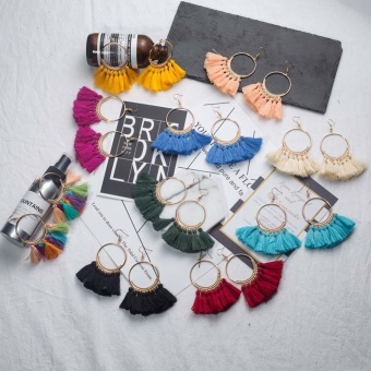 Kuhong Vintage Female Temperament Fashion Tassel Earrings - intl - 2