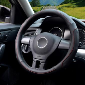 LUOWAN Car Steering Wheel Covers,Diameter 14 inch(35.5-36CM),PULeather,for Full Seasons,all black-S - intl - 2