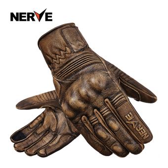 Nerve knight men retro motorcycle riding gloves leather gloves