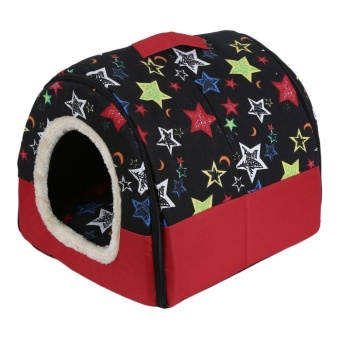 Harga OH Foldable Dog Puppy Cat House Kennel Nest Bed With Mat Pet TravelBed Tent Red Bricks M - intl