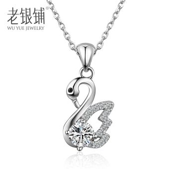 Old silver shop S925 silver necklace female clavicle chain Swan pendant Japan and South Korea diamond silver jewelry birthday gift to send his girlfriend