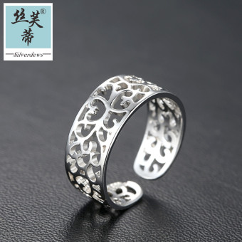 Opening ring 925 silver female Korean-style fashion ring single ring tail ring hollow ring female finger live mouth lettering