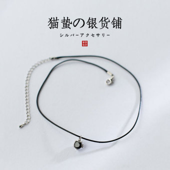 S925 European and American black leather cord sterling silver necklace neck band