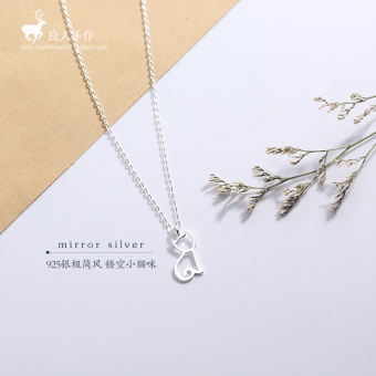 S925 sterling silver hollow cat necklace Japan and South Korea female sweet pendant minimalist temperament cute small cat short paragraph clavicle chain