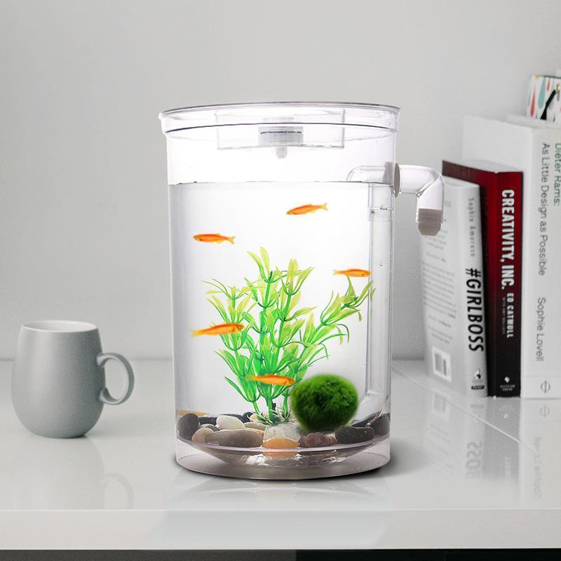 Self Cleaning Plastic Fish Tank Desktop Aquarium Betta Fishbowl for ...