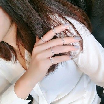 Star Quan Zhixian same paragraph ring five, opening index finger ring female Korean simple combination of Korean-style