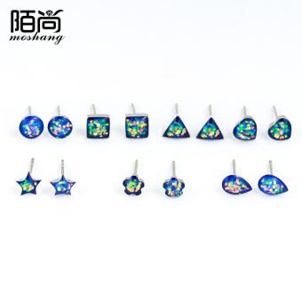 Street still Korean-style 925 silver earrings female Korean temperament sweet colorful earrings cute Star flowers love earrings