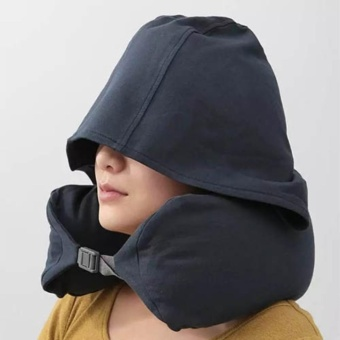 Travel Hooded Neck Pillow U-Shaped Neck Support for Car and Airplane - intl