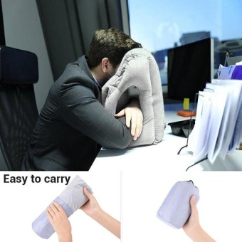 VSS Inflatable Air Travel Pillow Airplane Office Desk Nappillow Grey - intl