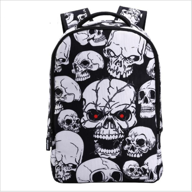 Wolf Who New Student School Bags Fashion Skull Travel Backpack - intl