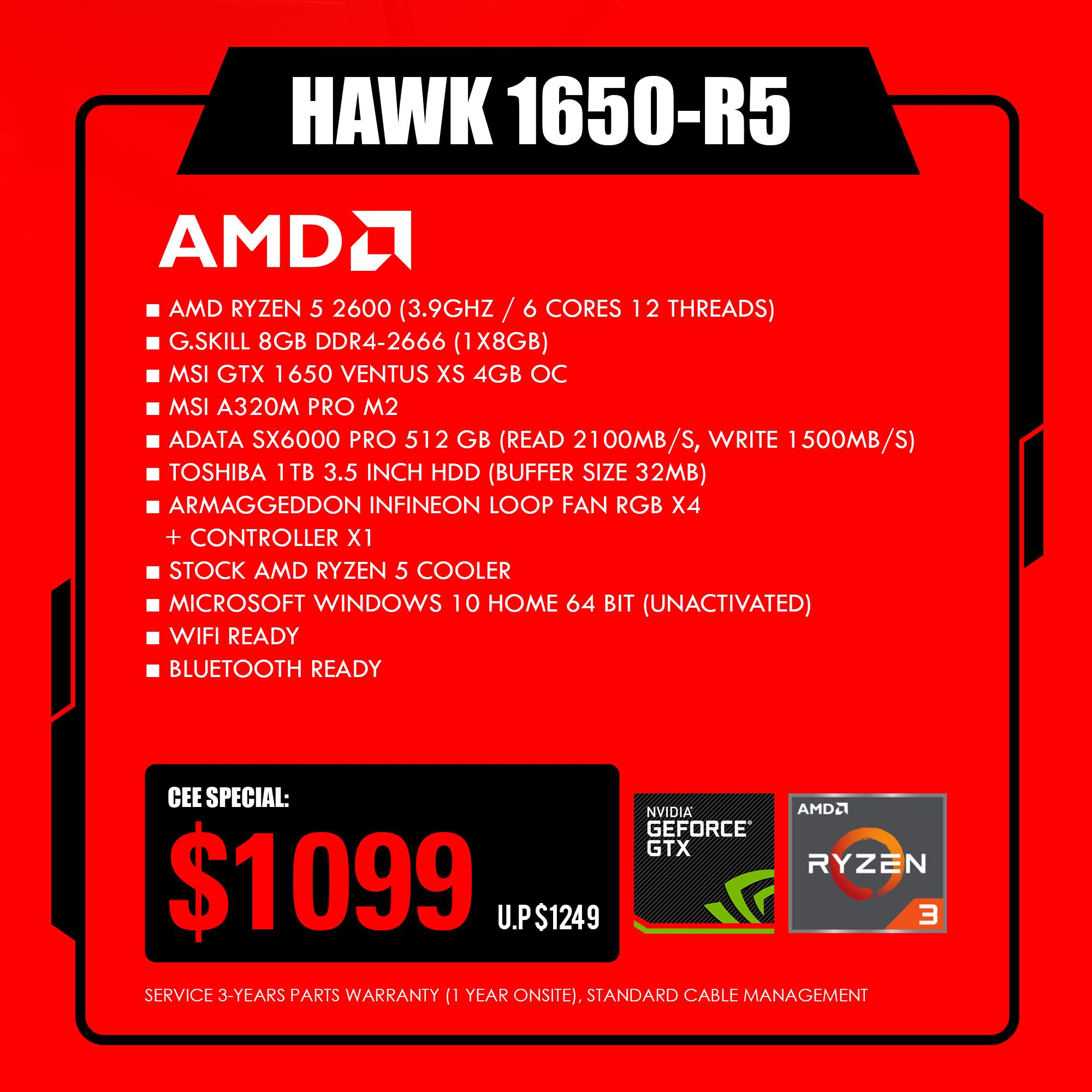 Armaggeddon HAWK1650-R5 Gaming Desktop Rig Processor AMD Ryzen 5 2600  Memory 8GB DDR4-2666 Graphics Card MSI GTX 1650 Ventus XS 4GB OC  Motherboard MSI