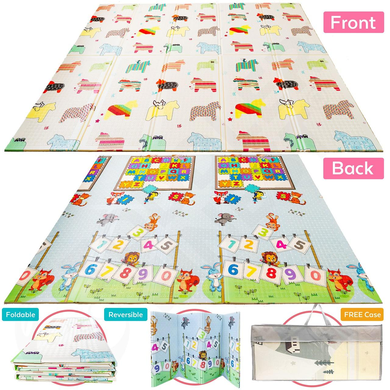 Baby Play Mat Extra Large Folding XPE Foam  Reversible 2 Sided Safest Material