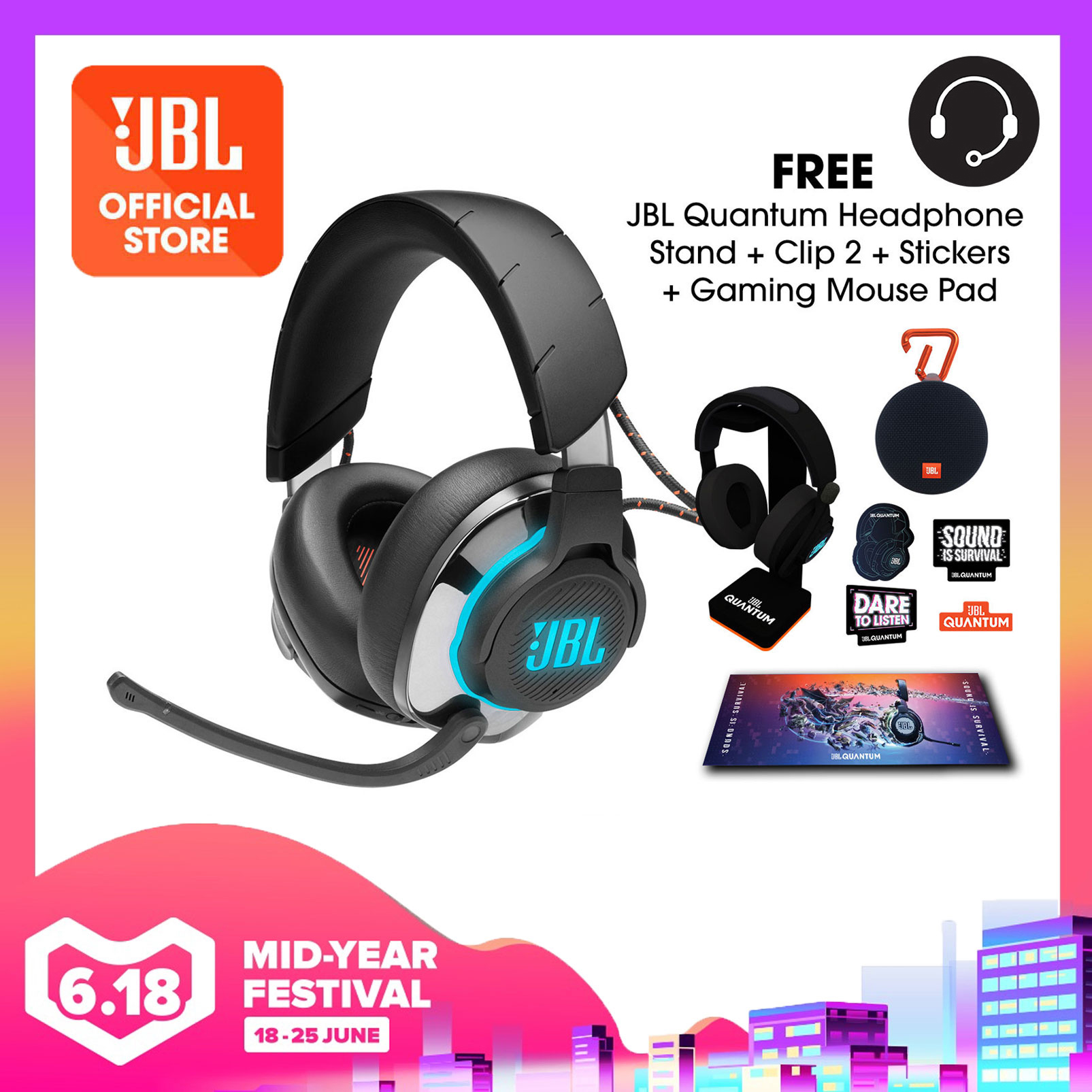 JBL Quantum 800 Wireless over-ear performance gaming headset with Active Noise Cancelling and Bluetooth 5.0 Bundle (Quantum Headphone Stand + Gaming Mouse Pad + Stickers + JBL Clip 2) | Why Not Deals