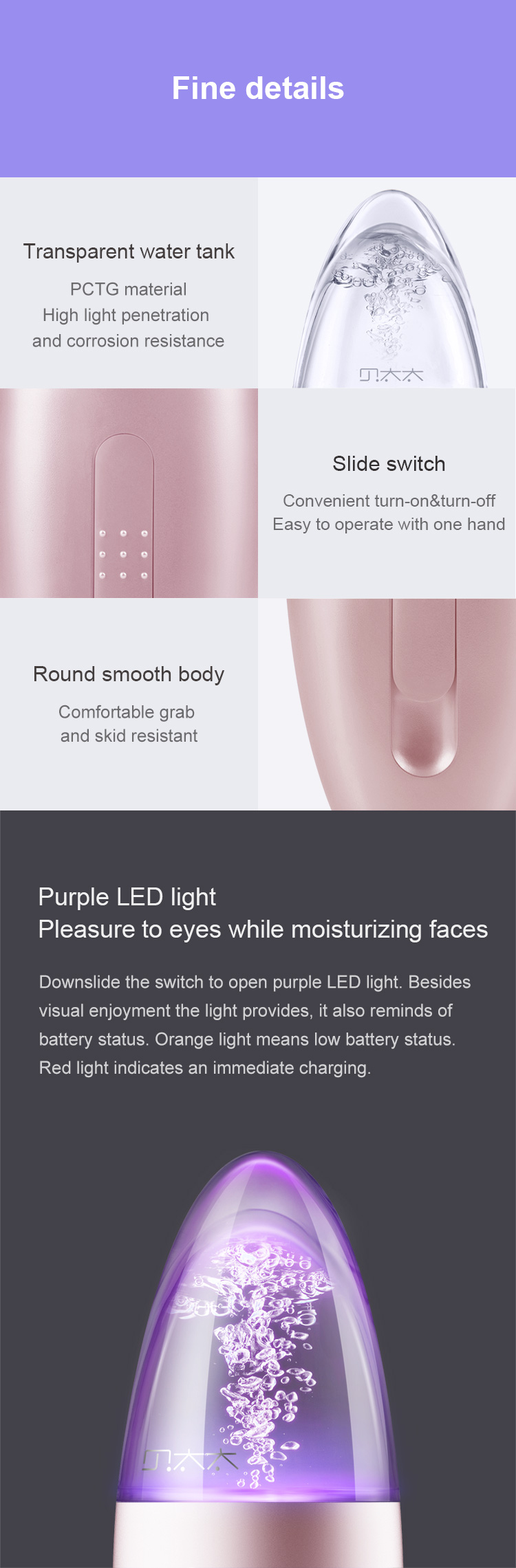 DR.BEI LADY BEI Ultrasonic Facial Moisturizing Sprayer Xiaomi Youpin DR·BEI Mist Facial Sprayer Portable USB Rechargeable Humidifier Nebulizer Steamer Moisturizing Face Skin Care Spray Instrument