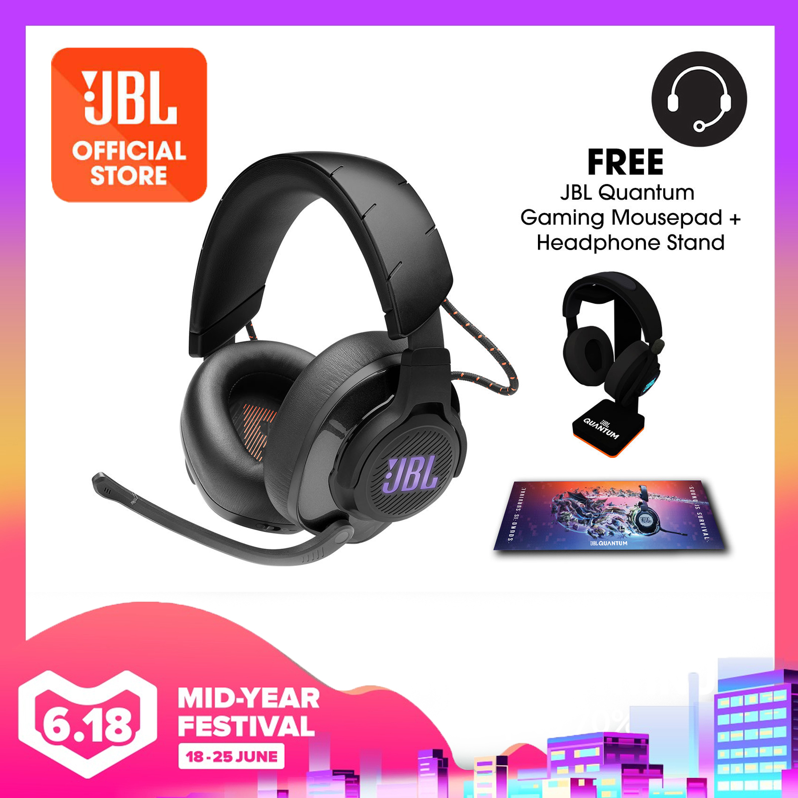 JBL Quantum 600 Wireless over-ear performance gaming headset with surround sound and game-chat balance dial + Quantum Headphone Stand + Gaming Mouse Pad | Why Not Deals