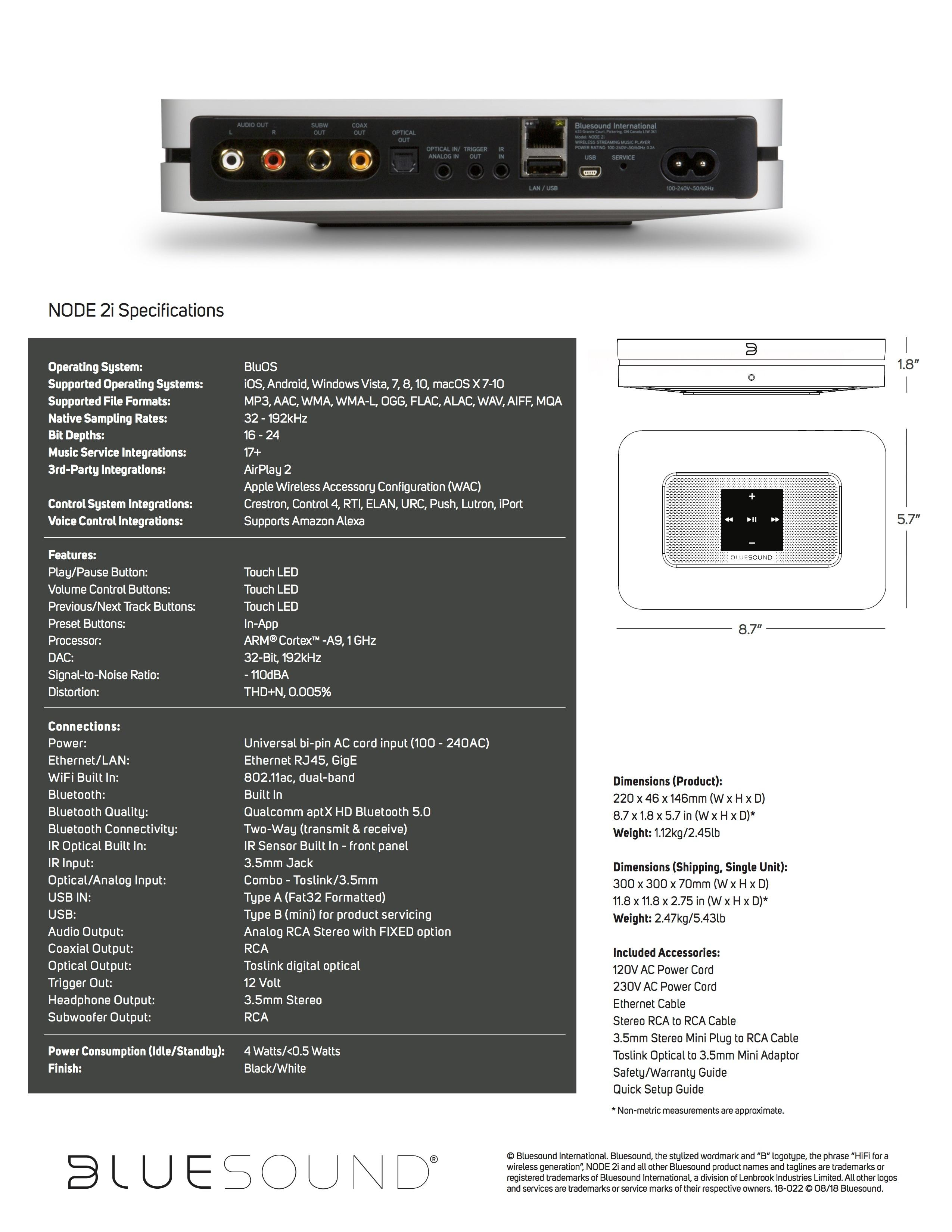 Bluesound Node 2i Hi-Res Music Streamer