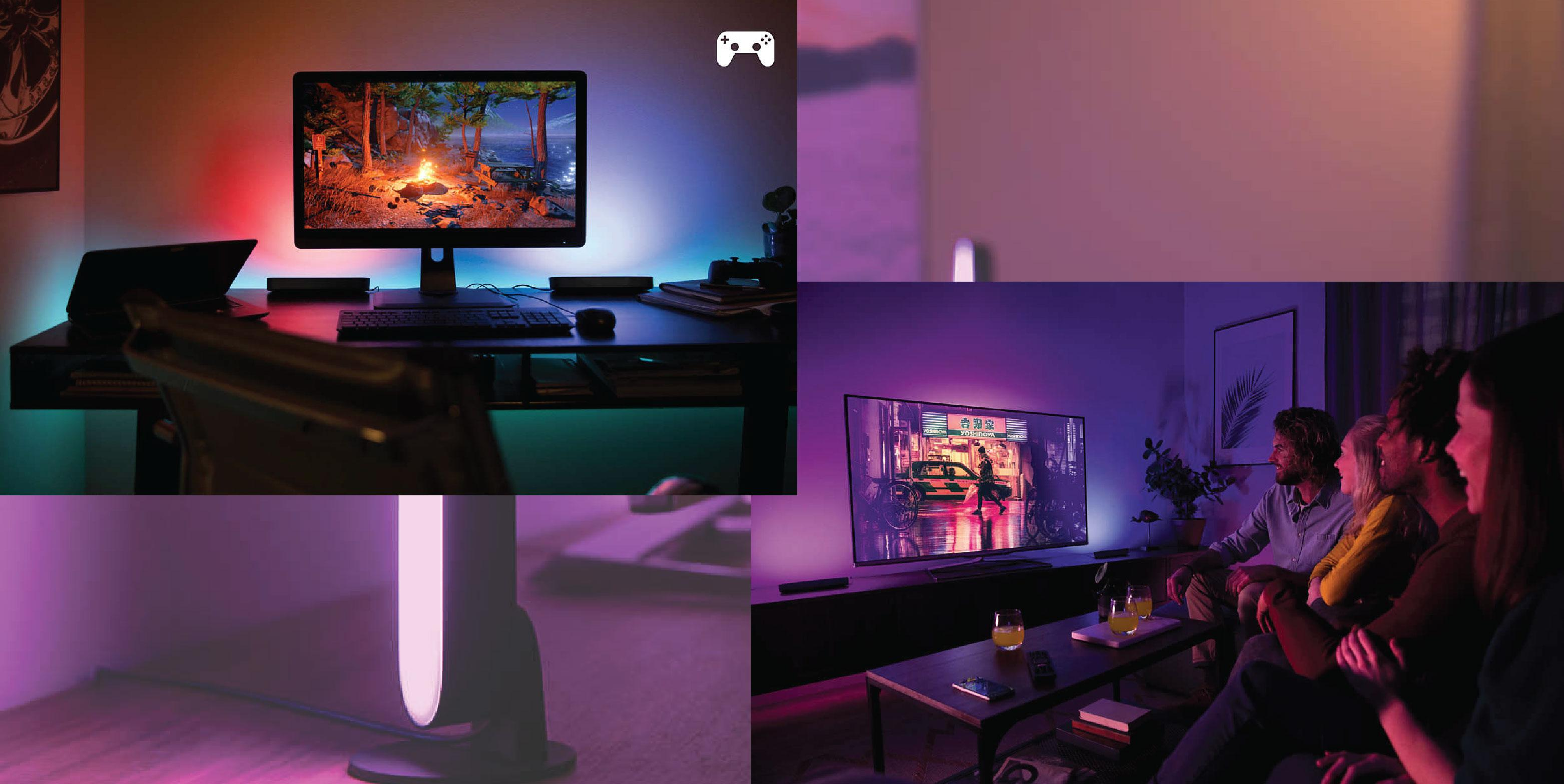 Philips Hue White & Colour Ambience Light Bar x 2 pack | TANGS Singapore