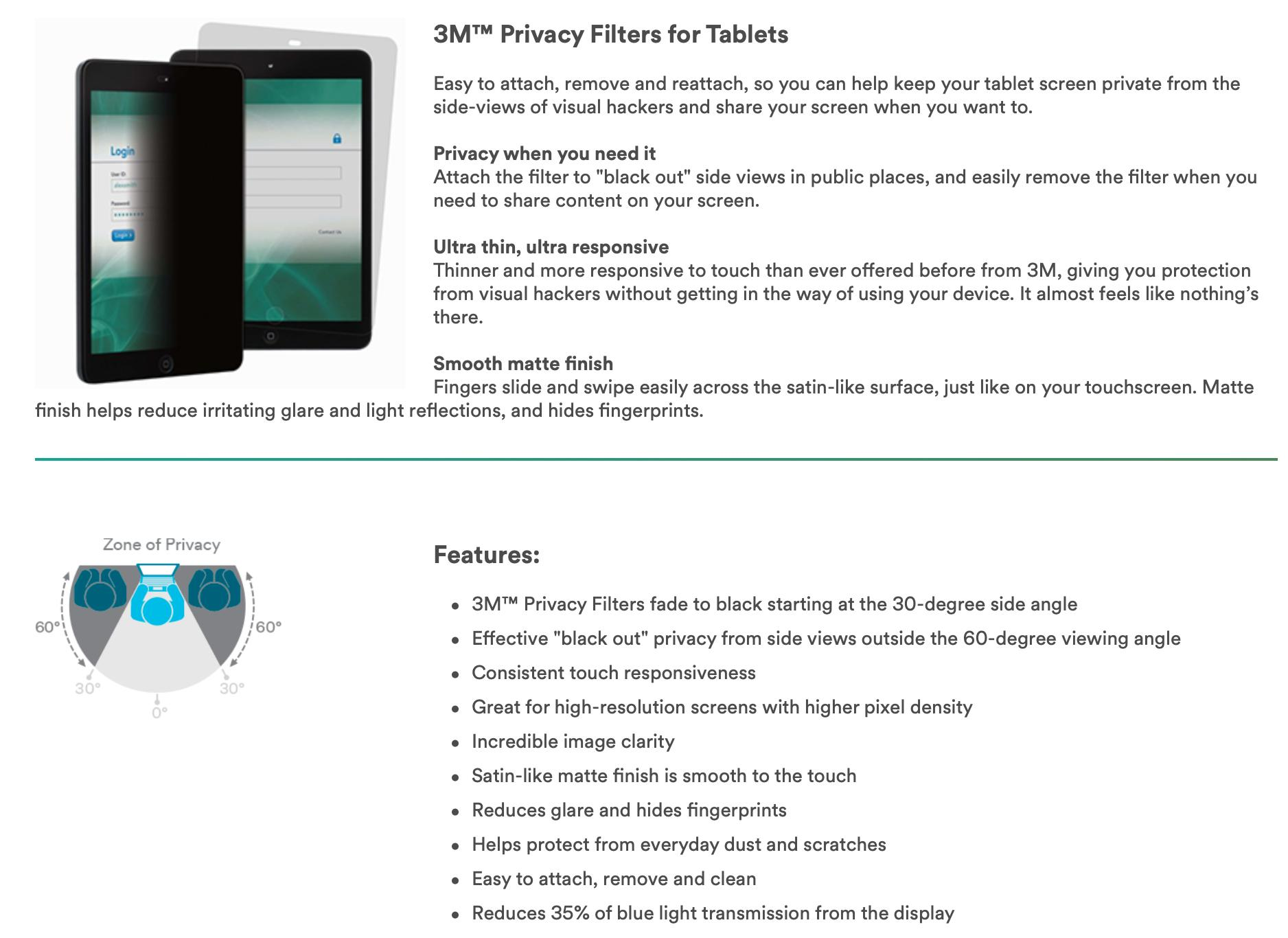 Pro 4 Landscape Black 3m Privacy Filter For Microsoft Surface Pro 3