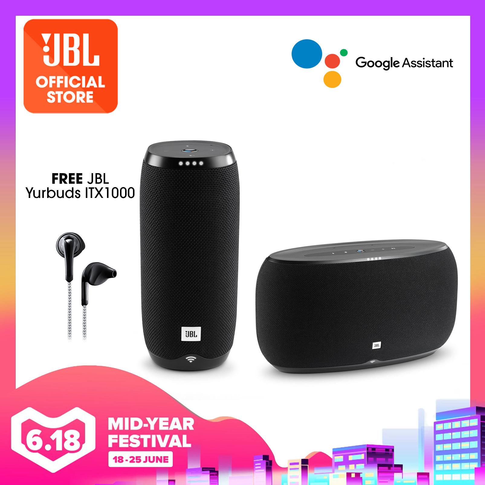 JBL Link 500 Voice-activated speaker + Link 20 Voice-activated portable speaker (bundle) +Free Yurbuds ITX1000 | Why Not Deals