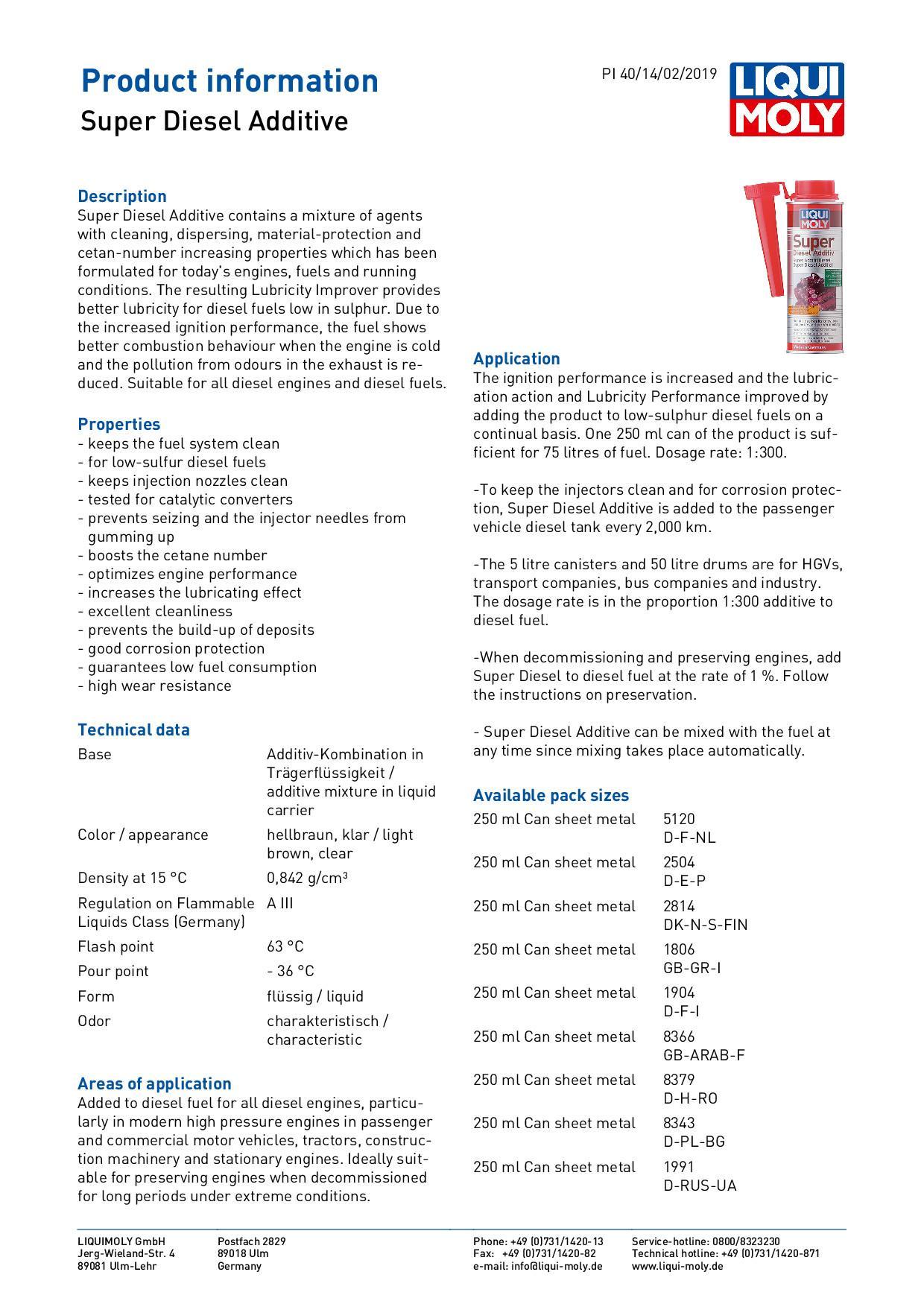 ข้อมูลเฉพาะของ LIQUI MOLY น้ำยาล้างหัวฉีด วาล์ว และห้องเผาไหม้ เครื่องยนต์ดีเซล Super Diesel Additive 250 มล.