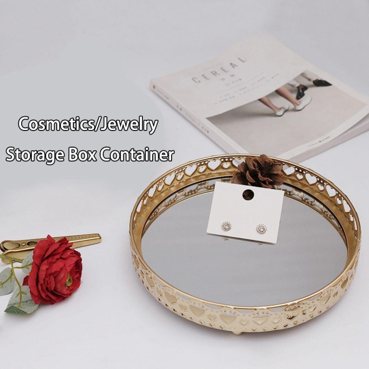 Golden Iron Jewelry Storage Tray Glass Mirror Base Bedroom Desktop Cosmetic Dessert Decorative Organize Plate Lazada