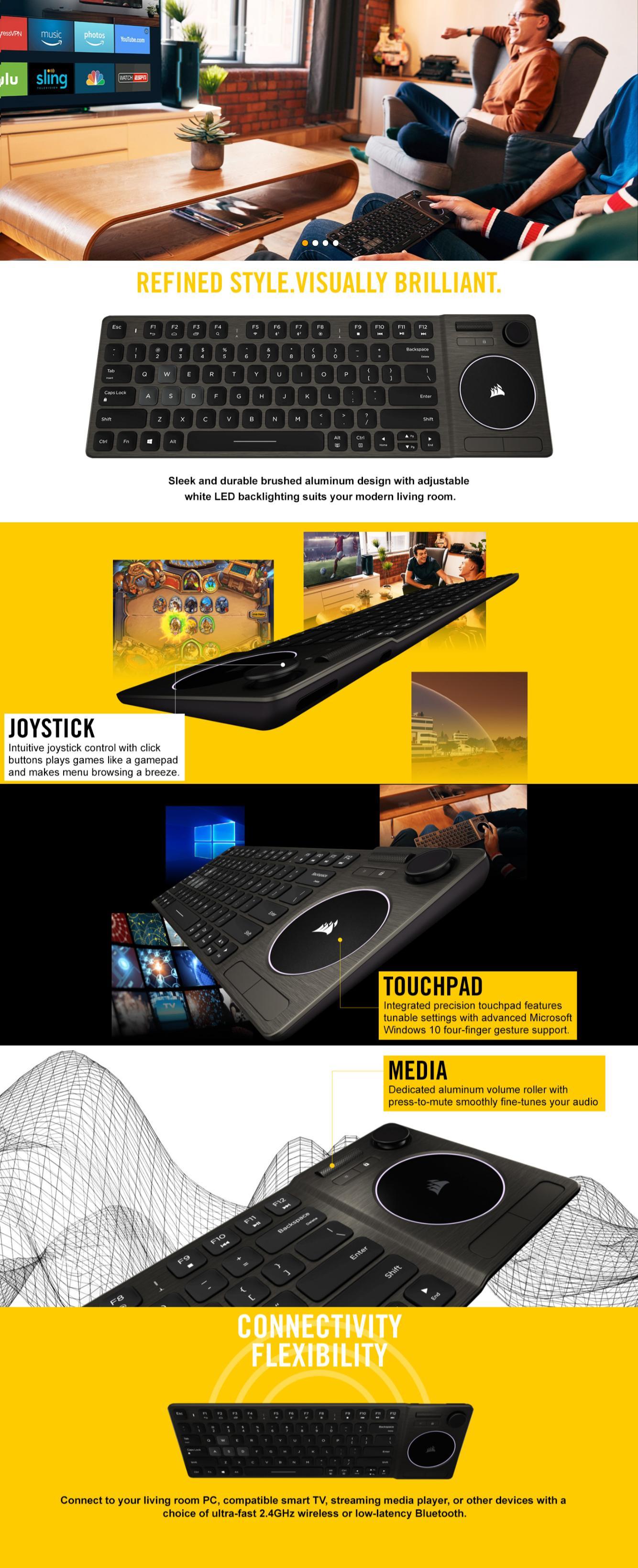 Corsair K83 Wireless Entertainment Keyboard (Black) | CH-9268046-NA