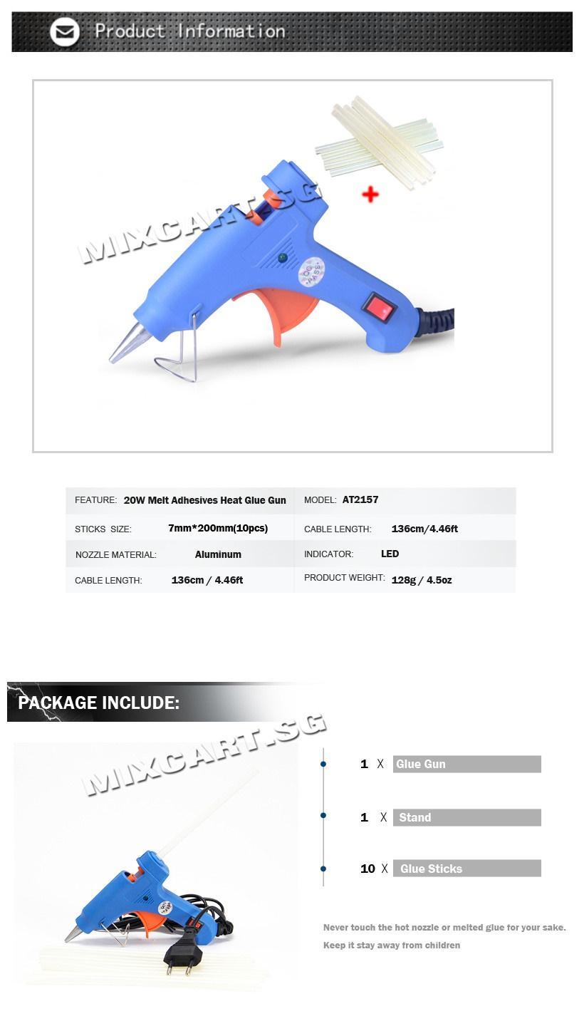 Mixcart ★Hot Melt Glue Gun Electric Silicone Guns GLUE STICK FREE 10PCS  QUALITY ENSURED Portable★DIY Tools