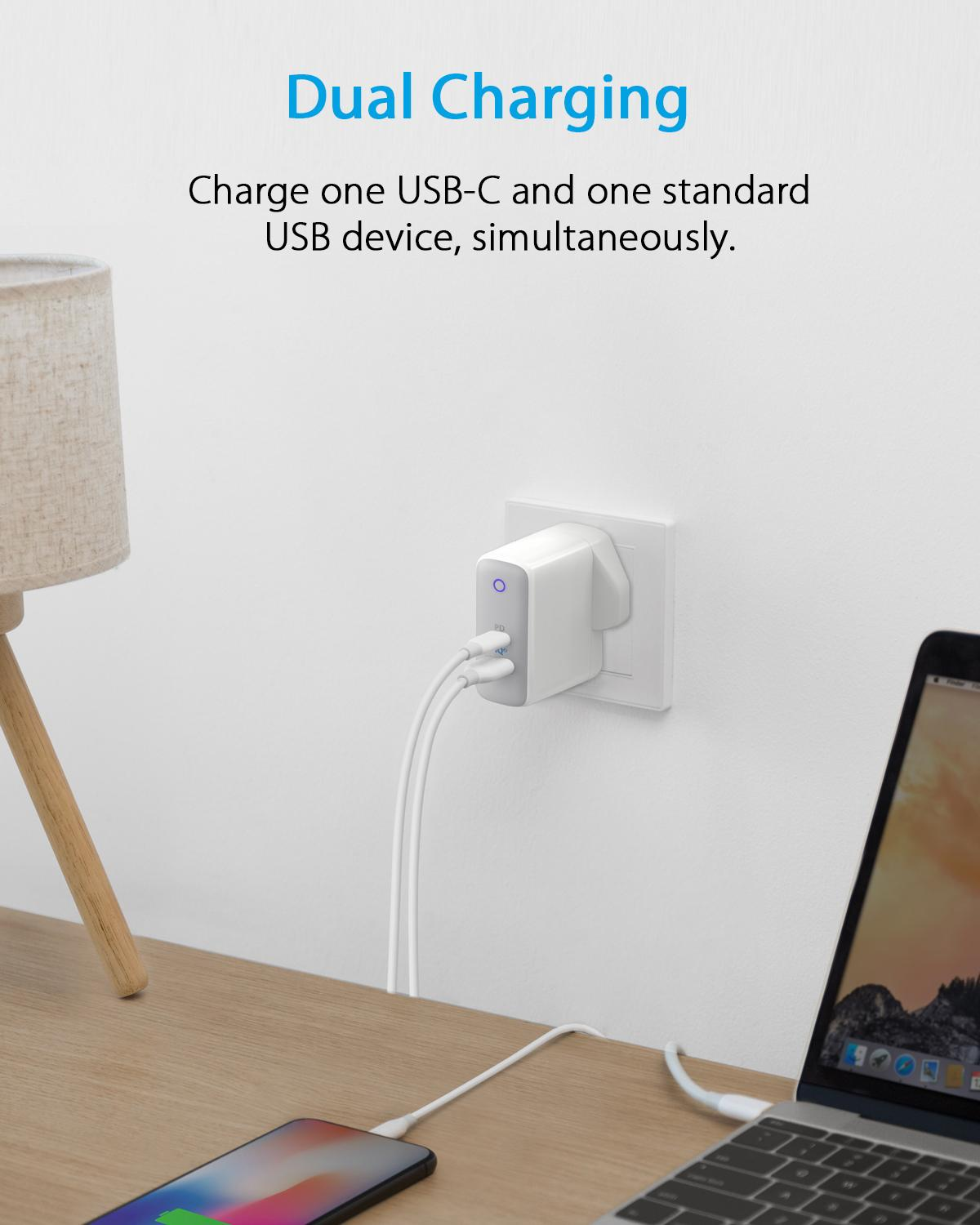 finest selection b42fa 34d2b [Power Delivery + PowerIQ 2.0] Anker PowerPort II Dual Port 49.5W USB-C  Wall Charger (SG Plug) USB C Charger, for iPhone Xs/Max/XR/X/8, iPad Pro ...