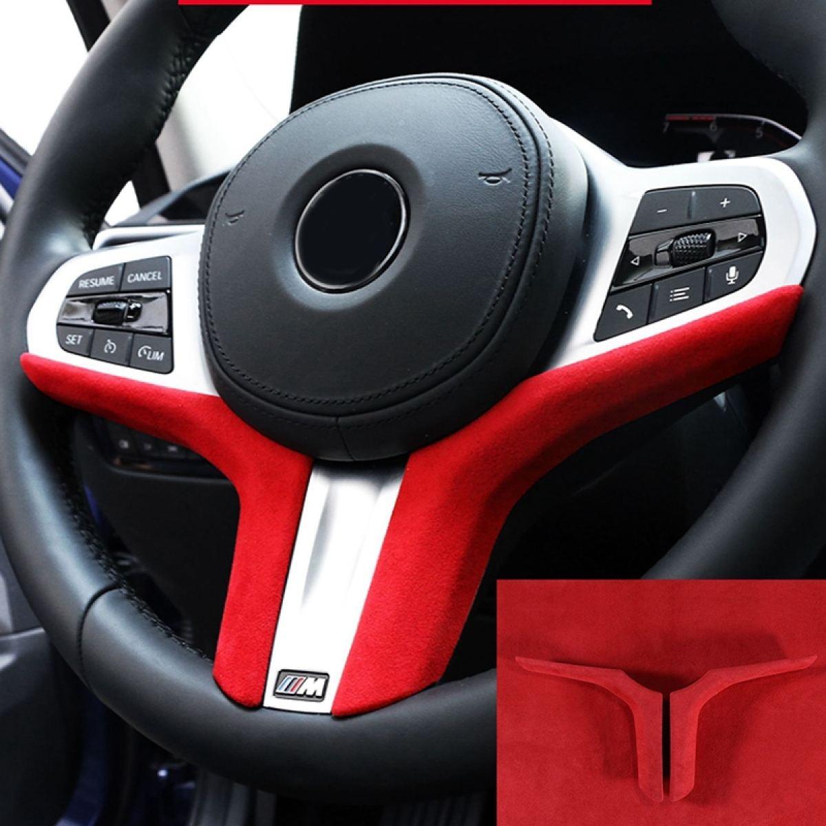 2pcs Car Steering Wheel Decoration Cover Trim Red Suede Interior Trim For Bmw 3 Series 320i 325i 2020 Lazada