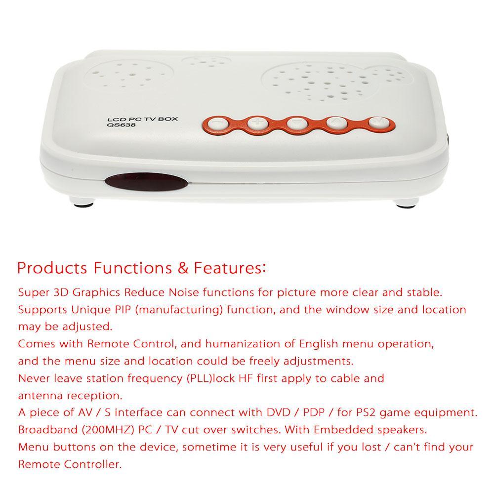 HDTV LCD TV Box / HD Analog TV Tuner Box / CRT Monitor Digital Computer TV  Program Receiver