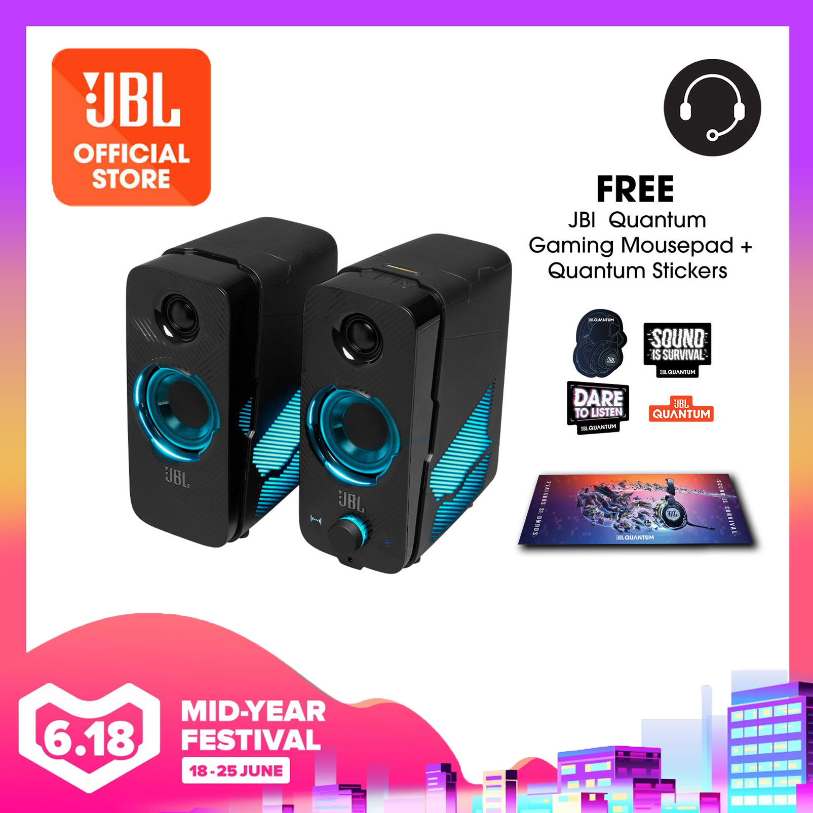 JBL Quantum Duo PC Gaming Speakers + Gaming Mouse Pad + Stickers | Why Not Deals