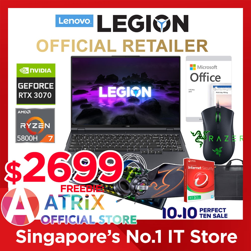 【Free Raser|MS Office】Lenovo LEGION 5 Pro (16inch)  82JQ000NSB | 16inch 16:10 QHD 500nits | 165Hz | AMD Ryzen 7 5800H | RTX 3070(140W) | 16GB RAM | 1TB SSD | 3 Years Lenovo Premium Care