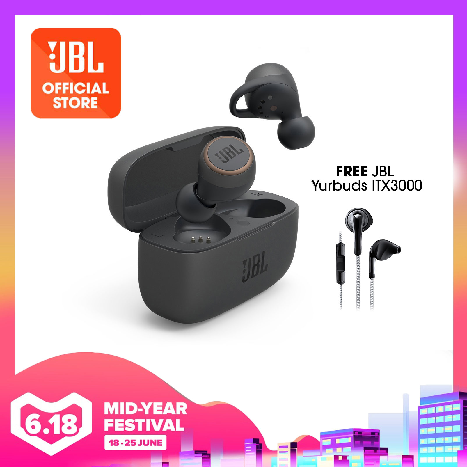JBL LIVE 300TWS True wireless in-ear headphones with Smart Ambient + Free Yurbuds ITX3000 | Why Not Deals